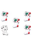 www.snowfall-beads.be - Metalen hangers/bedels met epoxy kerstsok 17x11mm - D34015