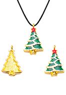 www.snowfall-beads.be - Metalen hanger met epoxy kerstboom 29x18mm - D34042