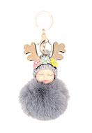 www.snowfall-beads.be - Sleutelhanger met pluizenbol baby - J07544